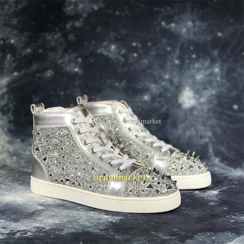 Designer Rive Shoes Drop Shipping New Arrival Casual Shoe Man Woman Sneaker Fashion Spikes Rhinestone Red Bottom Gold Silver Wedding