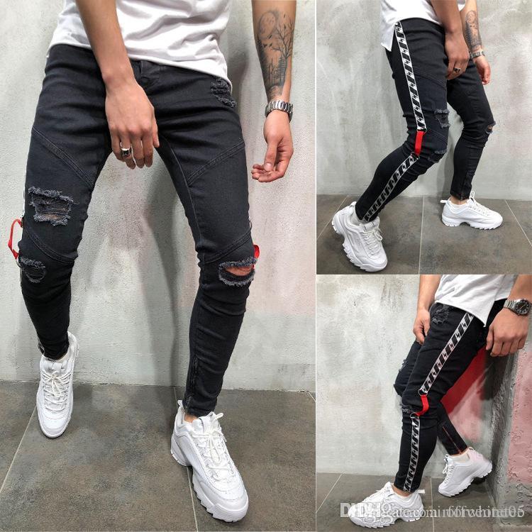 Erkek Siyah 19ss Biker Jeans Ripped Sıkıntılı İlkbahar Yaz Kalem Pantolon Hombres Jean Pantalones