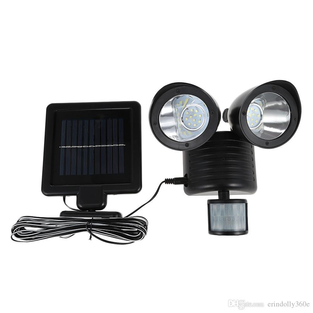 듀얼 헤드 PIR 모션 센서 태양 광 22 LED 야외 정원에 대 한 태양 광 램프 투광 조명 스포트 라이트 거리 벽 조명
