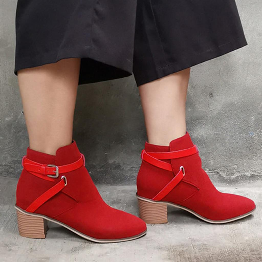 Boucle Bottes Bracelet cheville Heels Femmes Vintage Rome suqare Pure Color Pointu Ladies Toe Chaussures Botas mujer Invierno 2019