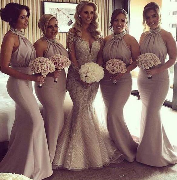 Платья для подружек невесты 2019 Русалка Длинные хрустальные бусины Ruched Одеяния demoiselles d'honneur плюс размер Высококачественные вечерние платья