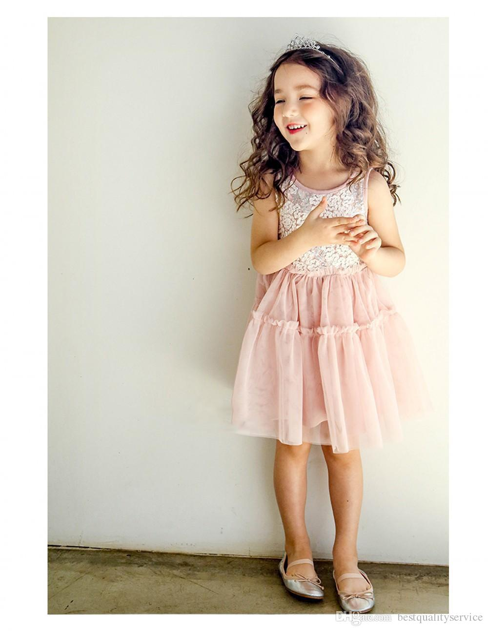 34756fde3 ... Girls dresses kids lace flowers embroidery vest dress children splicing  lace tulle princess dress summer children s ...