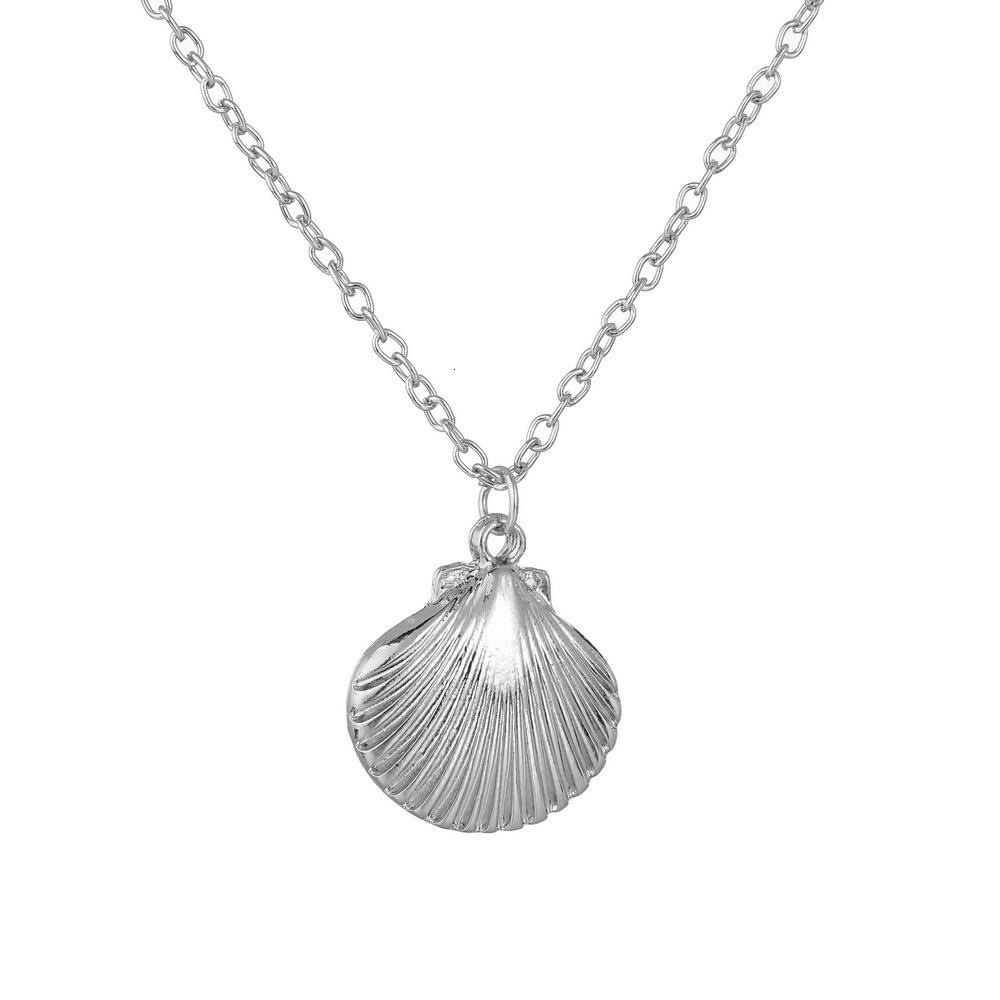 Marine Life Scallop In Shell Conch Shell Pendeloque Cut Necklace Electroplate Gold And Silver Clavicle Chain