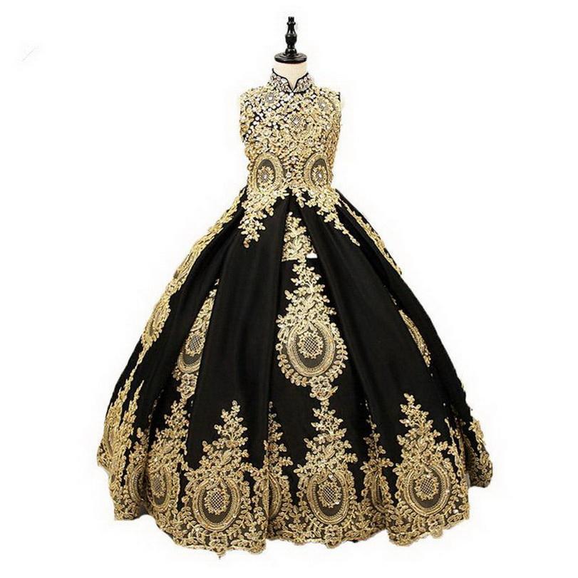 Lussuoso Flower Girl abiti senza maniche per Matrimoni oro pizzo applique raso per bambini Vestito da sera femminile ragazze prima comunione abiti