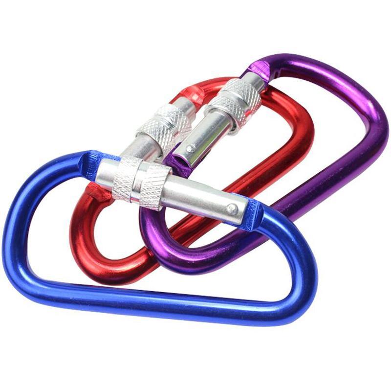 1pc 8 cm / 7 cm / 6cm / 5 cm Alüminyum Alaşım Carabiner D-Ring Anahtarlık Klip Kamp Anahtarlık Kanca Açık Seyahat Seti GYH
