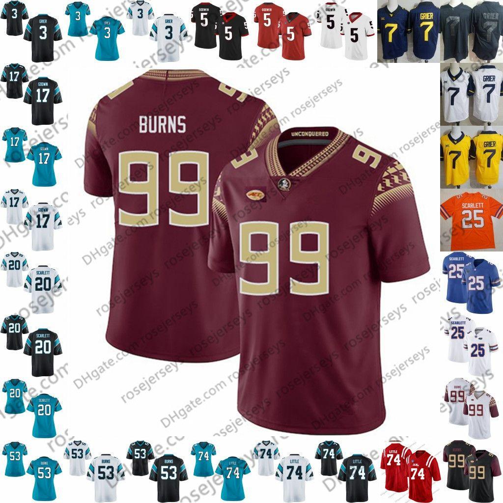 2019 NCAA FSU Seminoles 99 Brian Burns Branco Rebeldes Greg Little Will Grier UGA Terry Godwin Elijah Holyfield Preto Azul Rush Camisola De Futebol