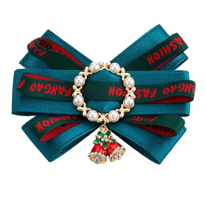 Regalos de la joyería de la broche de la perla de la cinta de Bowtie bowknot grandes arcos del pañuelo de las corbatas Mujeres broches de los pernos Moda Navidad Bell 2019