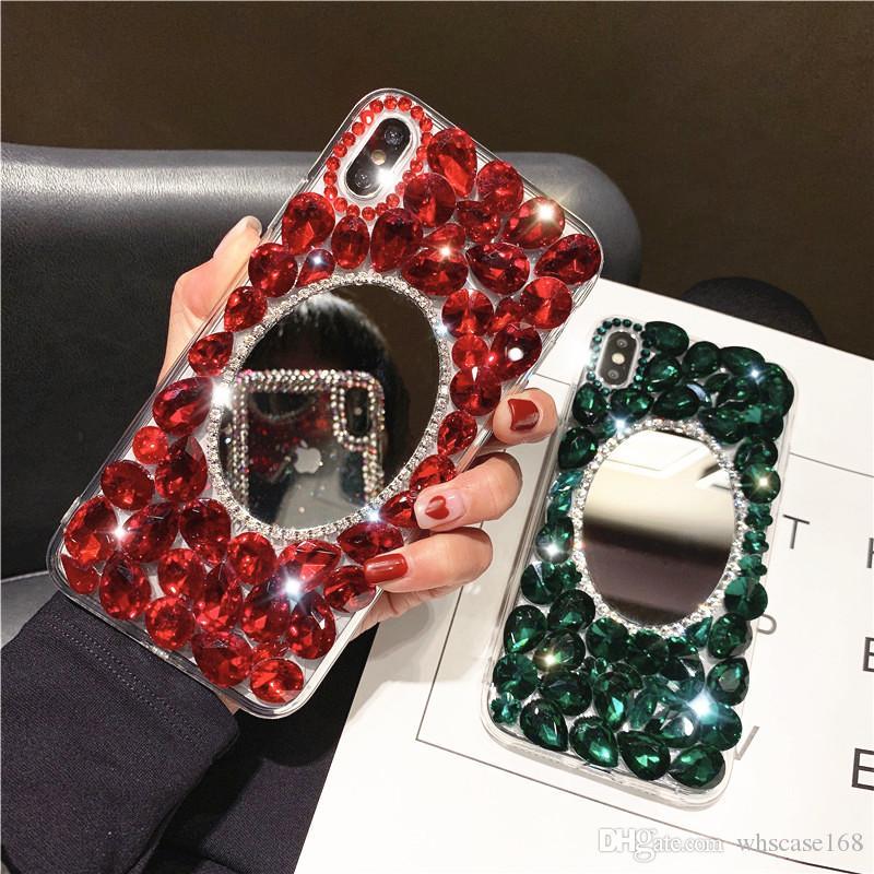Cas De Téléphone De Luxe Plein Diamant Strass Avec Couverture De Miroir Pour Iphone XS XR XS MAX 8 7 6 Plus Samsung S10 S8 S9 Plus NOTE9 Note8 Proposé ...