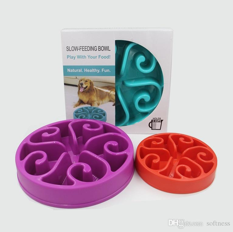 7 colores para mascotas cachorro de perro lenta de comer del plato anti atragantamiento Alimentación plato agua Comer lento La alimentación vibratorio