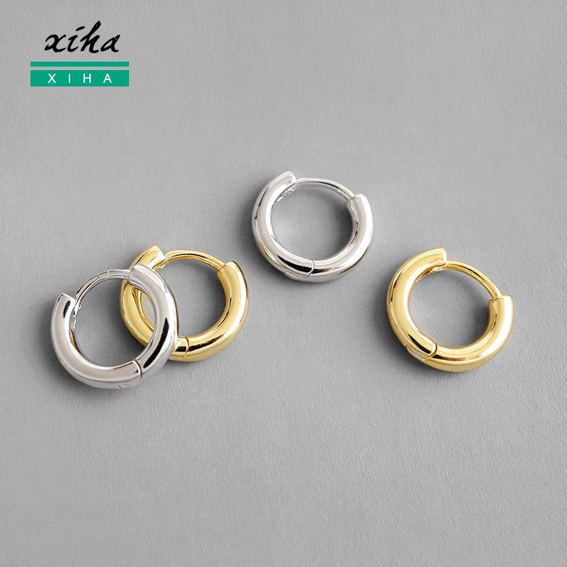 XIHA 925 Petit Hoop Sterling Boucles d'oreilles pour les femmes poli en ronde Cercle Huggie Minimaliste Earings bijoux à la mode 2020