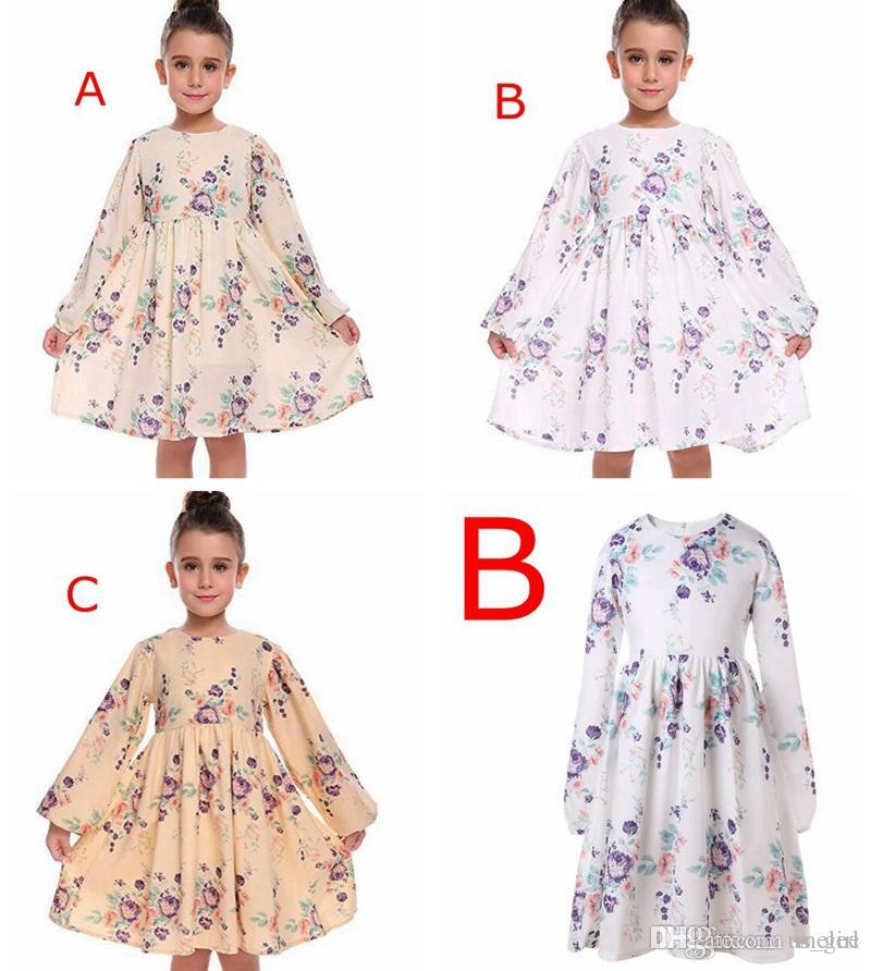 ins summer FALL girls flral print princess dress kids LONG SLEEVED cotton lace vest party dresses kids BEACH dresses for 2-6years free ship