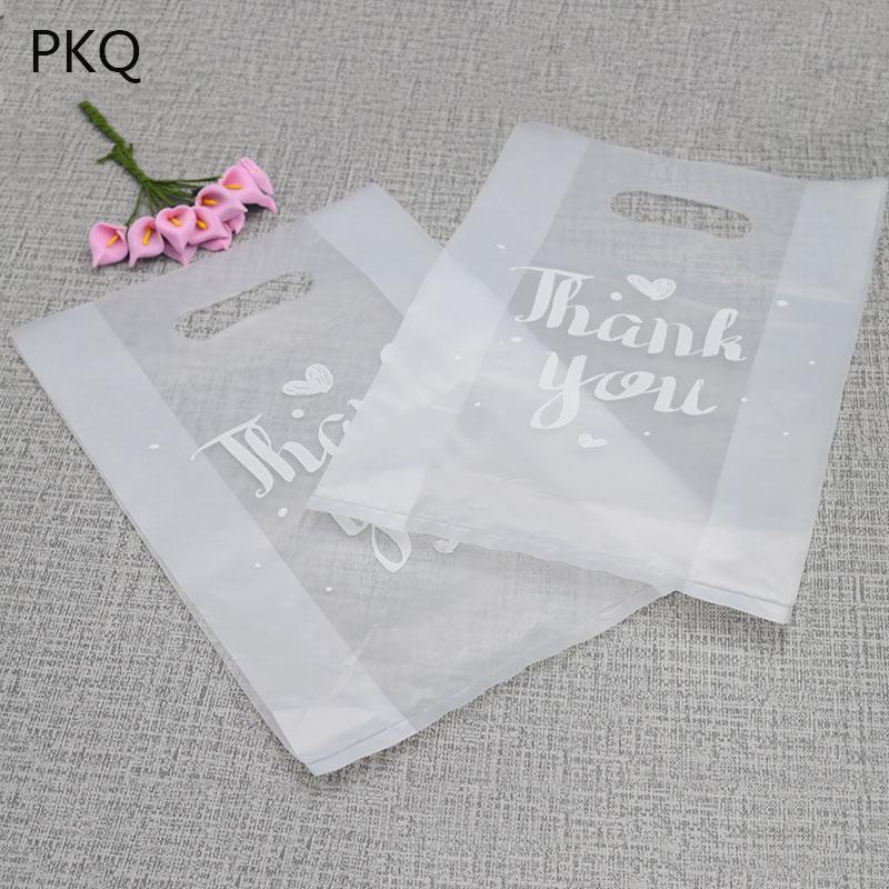 100 adet saydam plastik torbalar, teşekkür ederim plastik torbalar, düğün parti lehine lehine kutular için perakende çanta