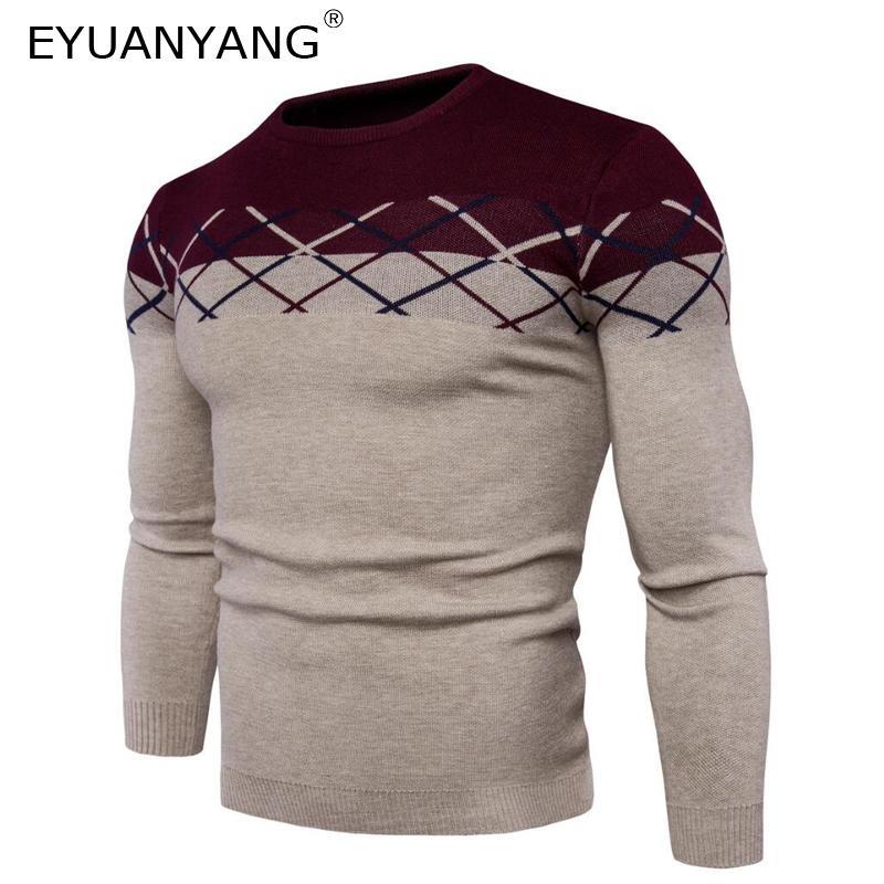 Men Stripe Slim O-Neck Houndstooth Sweater Winter Simple Pullover Men Knitwear