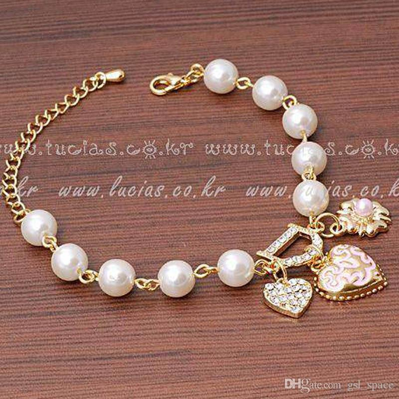 Hot Fashion Unlimited Bangle Bracelets Charm Heart Flower Simulated Pearl Crystal D Word Beaded Bracelet For Women Jewelry