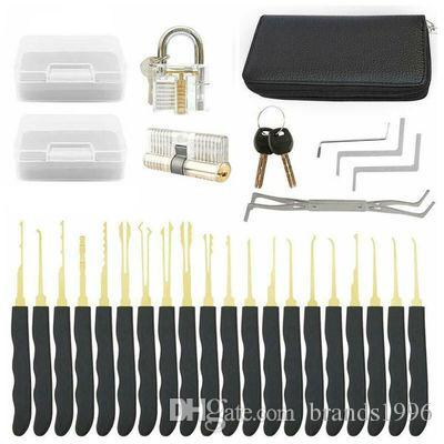 24 piezas solo gancho cerradura Pick Set herramientas de cerrajería transparente cerradura cerrajería práctica formación habilidad bloqueo Pick herramientas conjuntos envío gratis