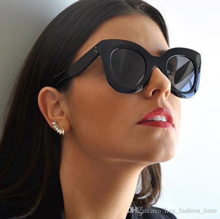 Солнцезащитные очки Женщины Cat Eye Солнцезащитные очки Brand Designer Очки для дам Ретро Vintage Flat Top солнцезащитные очки Зеркало Full Frame Black очки C67