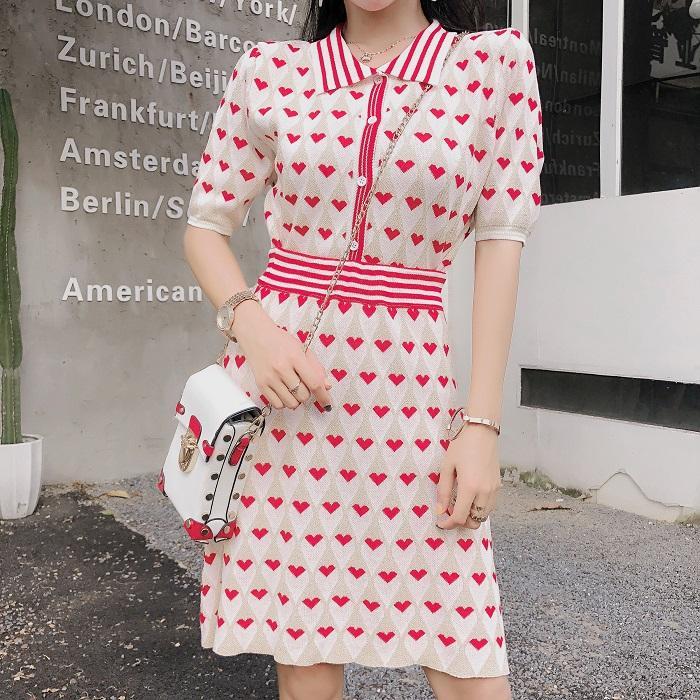 Verão Mulheres malha saia Suits 2019 Runway Suits rosa Impresso Amor Bling manga curta camisola + conjuntos de bola vestido curto saia