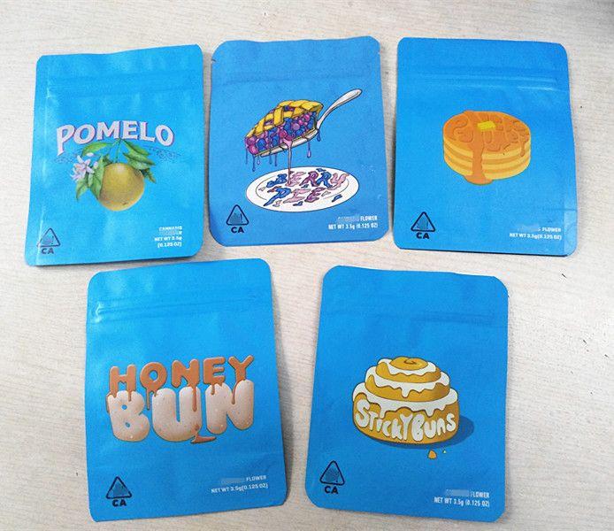 2020 nuove borse di mylar con commestibili etichetta adesiva imballaggio odore prova 3,5 grammi cerniera richiudibile imballaggio 420