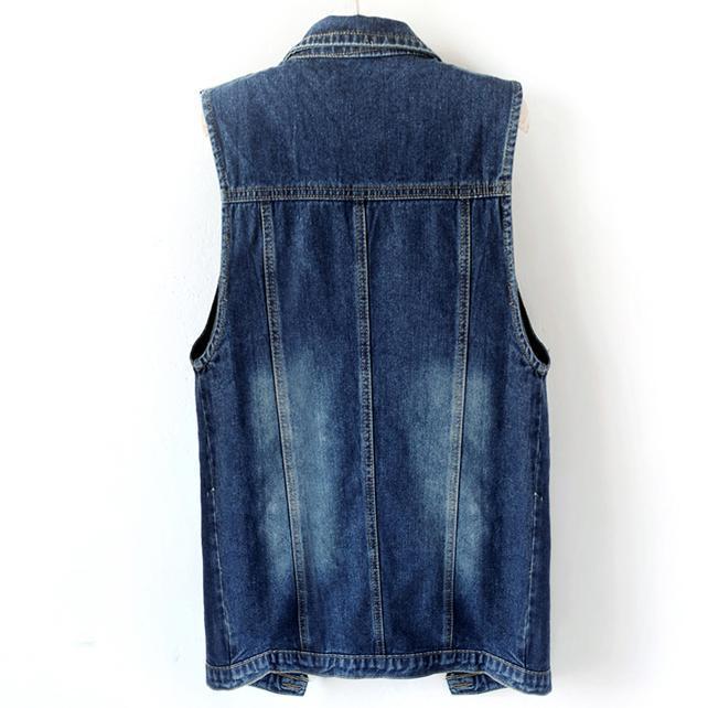 Мода женщины длинный джинсовый жилет однобортный Весте тонкий девушки потрепанные отложным воротником топы плюс размер 2XL