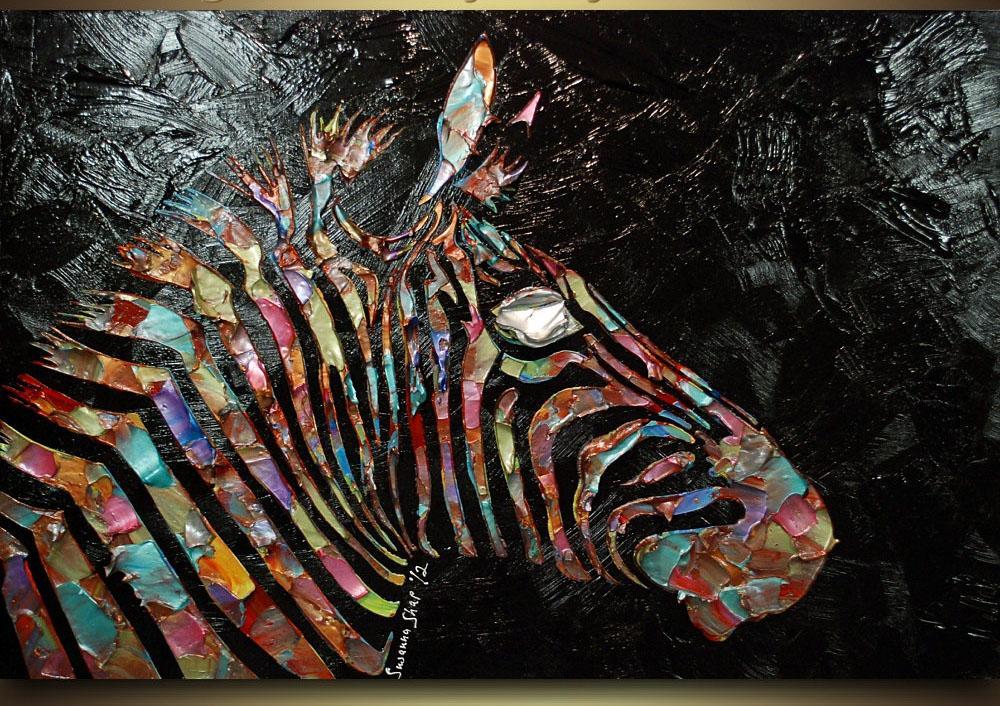 Grand Peint À La Main Coloré Zèbre Peintures À L'Huile Abstraite Animal Palette Couteau Toile Peinture À L'Huile Mur Art Home Goods Peinture