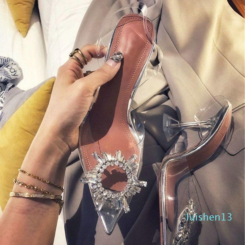 34-42 Sexy Escarpin Sandales Chaussures Femme Argent strass chaussures de mariage Talons Party Chaussures Talons été Hauteur Sandales T200226 L13