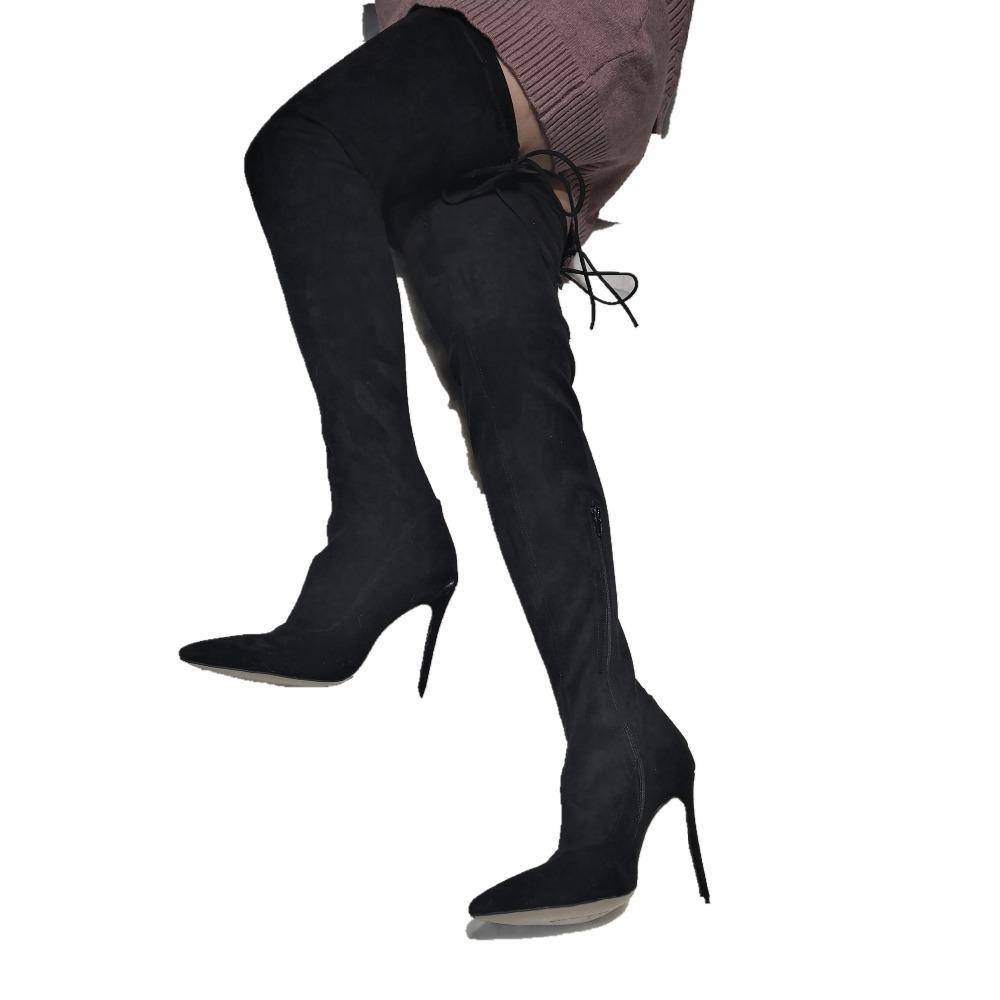 Siyah Diz Çizmeler Üzerinde Kadınlar Bayanlar Topuklu Stilettos Özel Bacak Boyutu Faux Süet Yüksek Topuklu Çizmeler Uyluk Yüksek 2019