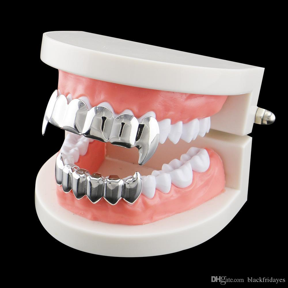 New Smooth Fangs Teeth Real Gold Plating European and American Hip Hop Jewelry Gold Braces Explosive Braces