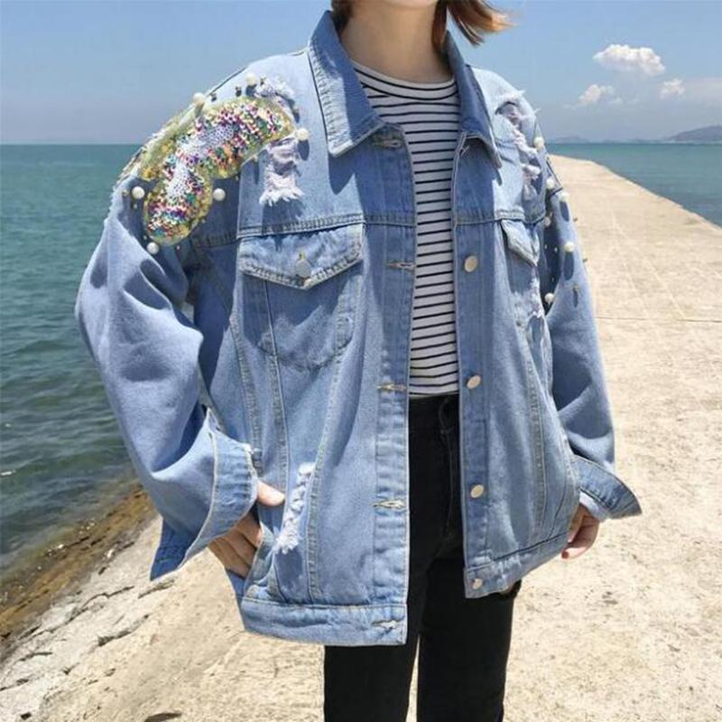 Senhoras Denim Jacket Loose 2019 Novos Desenhos Animados Impresso Remendo Sequin rasgado Buraco Design Street Wear Jeans Womens Womens Grande Tamanho