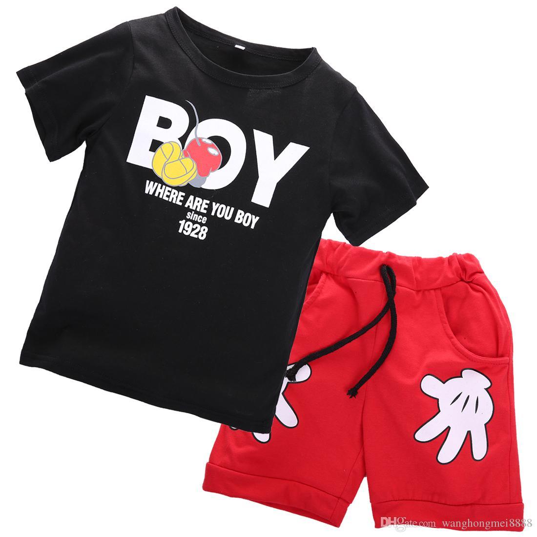 мини мышь дети малыш мальчик костюм наряды мальчик дети мальчик футболка + мультфильм руки шорты повседневная одежда набор летняя одежда 2-7Y