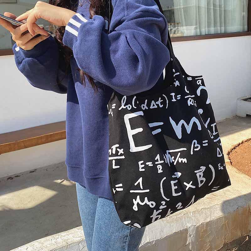 2020 New summer print Canvas shoulder Bags large capacity letter Emc handbag student bag korea shopping tote math equation