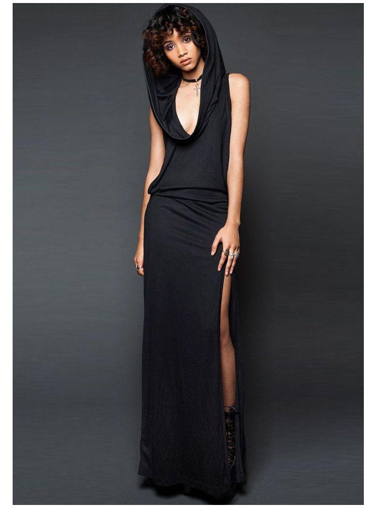 Fashion-Halloween платье Vampire Sexy Дырявый Назад щелевая рукавов Hat платье Medieval черный и фиолетовый цвет Женские платья 2019