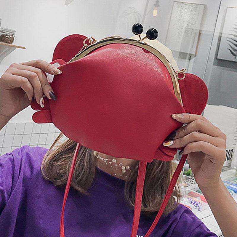 Kızlar Kırmızı Yan Paketi Yengeç Şekli İnce sapanlar Cep Telefonu Paketleri Siyah Omuz Çantası Kadınlar Pu Deri Moda Crossbody Çanta