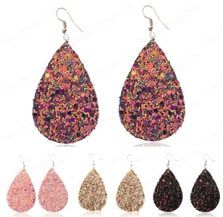 bijoux de mode Hot femmes PU cuir Boucles d'oreilles Paillettes Faux eau-goutte en cuir Boucle d'oreille en