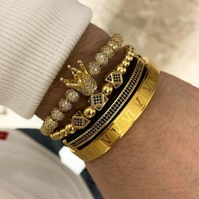 3 pz / set + numero romano bracciale in acciaio al titanio paio braccialetto / corona / 2018 / per gli amanti / bracciali per le donne uomini gioielli di lusso