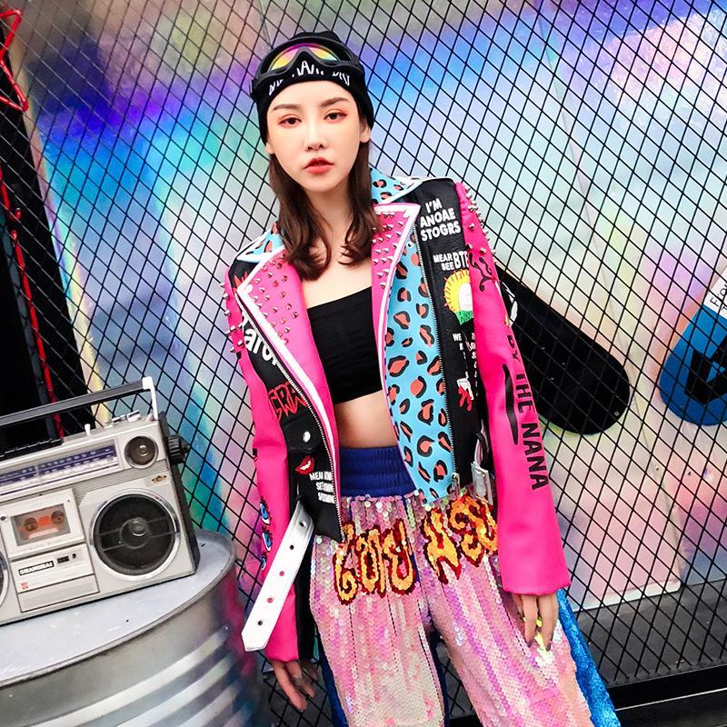 Üst Marka Yeni Bahar Moda Kaliteli Perçinler Leopar Bayanlar Sokak Kadın PU Deri Ceket Gotik Deri Ceket Kadın SH190903