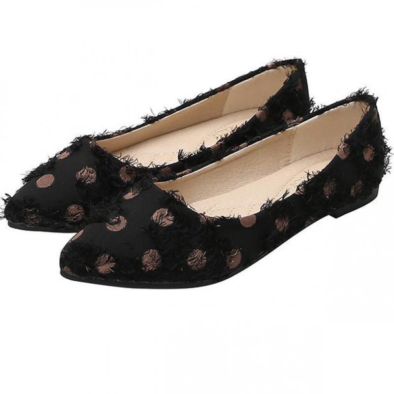 Büyük Beden Kadınlar Loafers Bez Ayakkabı Flats Sivri Burun Sığ tek bir Office Lady Espadrilles Dalga Noktası Zapatos Mujer Slip On