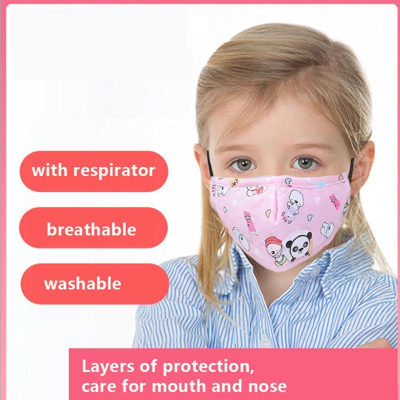 Maschera Kid con respiratore orso di design Maschere del fumetto con filtro a carbone attivo Valvola dello sfiatatoio del PM2.5 anti polvere Haze antipolvere protettivo
