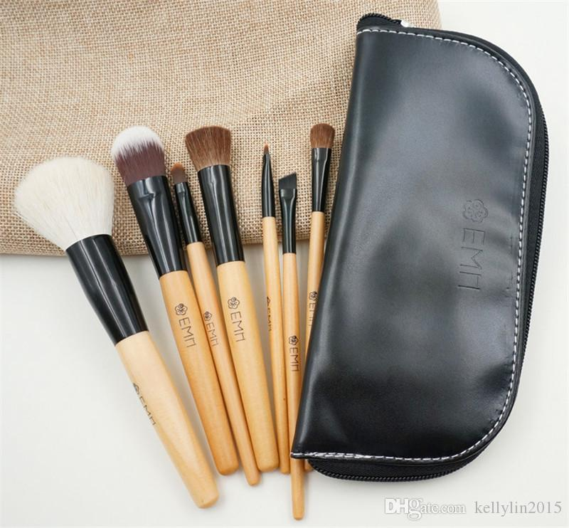 7pcs Professional Makeup Brush Set with bag Powder Eye shadow Foundation Brush Goat Hair Wood Handle Make up brushes Travelling Beauty Tools