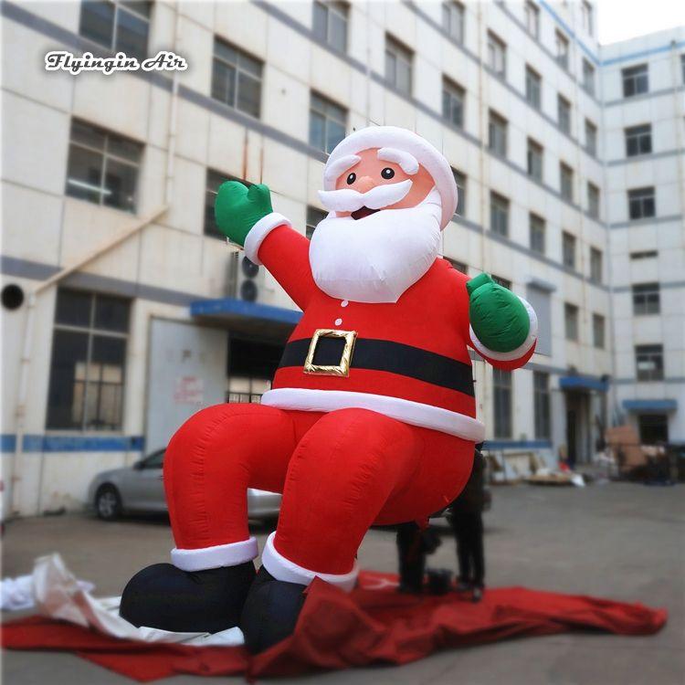 Открытый дом Крыша Декоративного Надувной Санта-Клаус сидел Скульптуру ой Высота Отец Рождество модель построение Xmas украшение