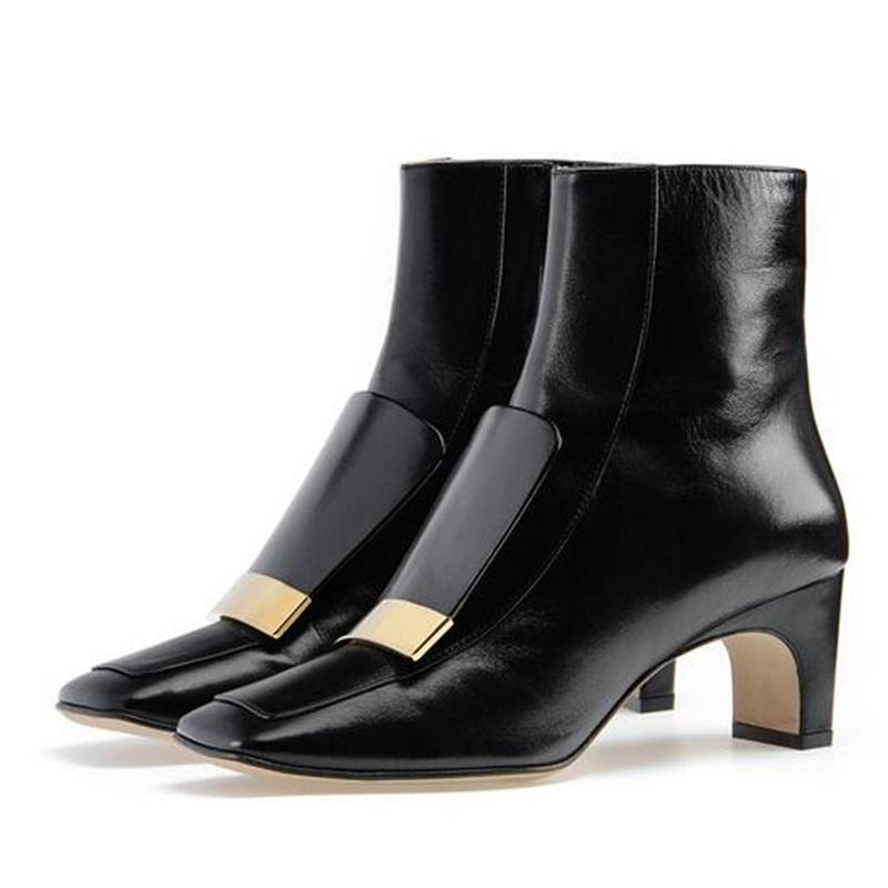 Winter Women Sequin Shoes Brand Plain Toe Ankle Boots Side Zipper Mid Chunky Heel Booties Plus Size 34-46