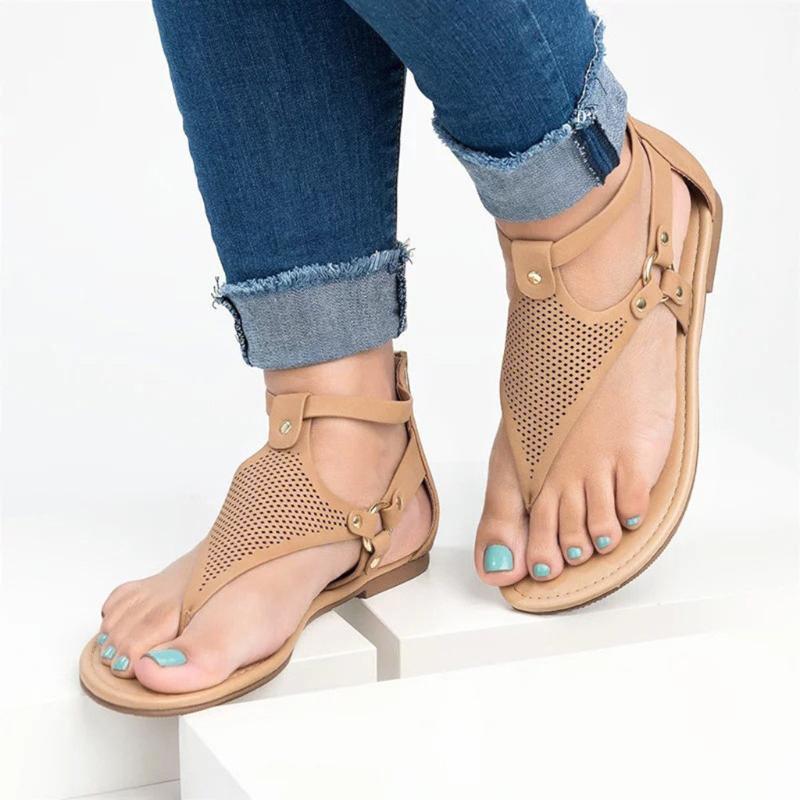 Сандалии женские римские стиль задняя молния дышащие нижние каблуки туфли вскользь