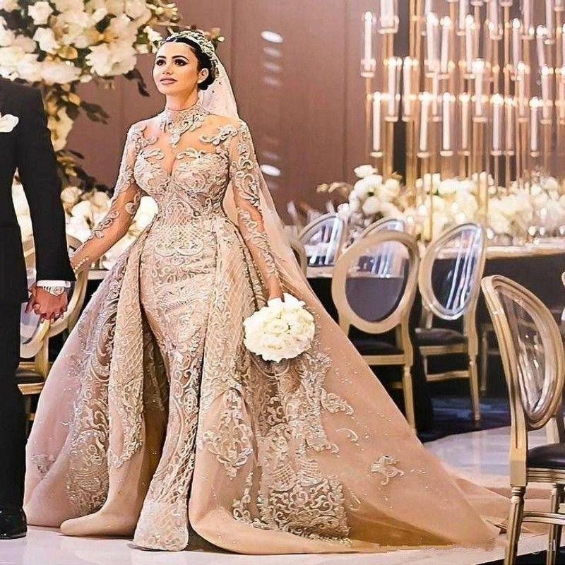 Abito da sposa arabo manica lunga Dubai splendido collo alto 2020 sirena appliques pizzo staccabile treno abiti da sposa vestido de noiva