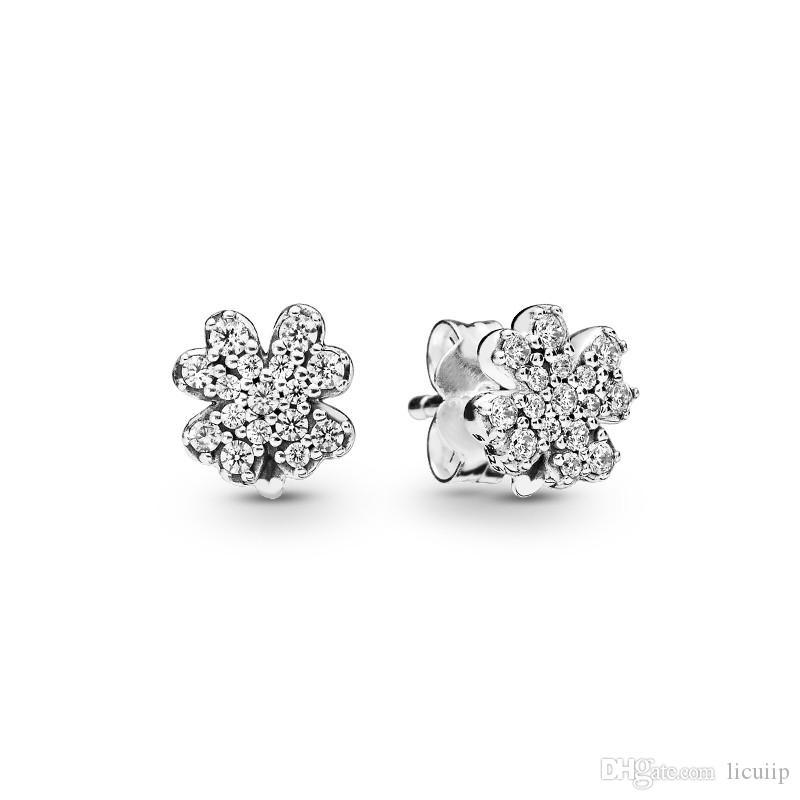 Brilhante Clover CZ Diamante Brincos autêntica prata esterlina 925 Temperamento Original Caso Set para Brincos de casamento de Pandora Mulheres