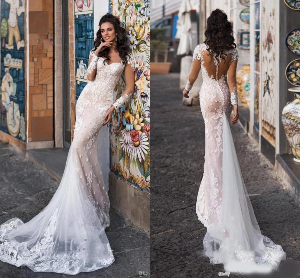 Magníficos Champagne sirena largo vestido de la manga 2020 Sheer botón cubierto vestido de novia al aire libre Volver Applique del cordón Jardín