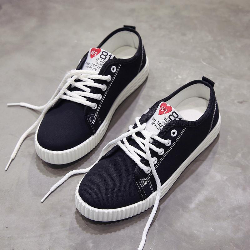 Hot Sale Autumn Woman Casual Shoes Flat with Canvas Shoes for Female Ladies Lace-up Flats Fashion Vulcanize Shoes tg645