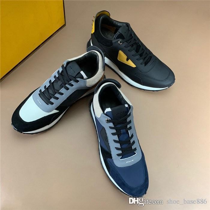 Herren Sneakers mit Nieten Spikes, BAG BUGS EYES SNEAKER Sneakers mit schwarzem und gelbem Leder in Designer-Schnürschuhen mit Box