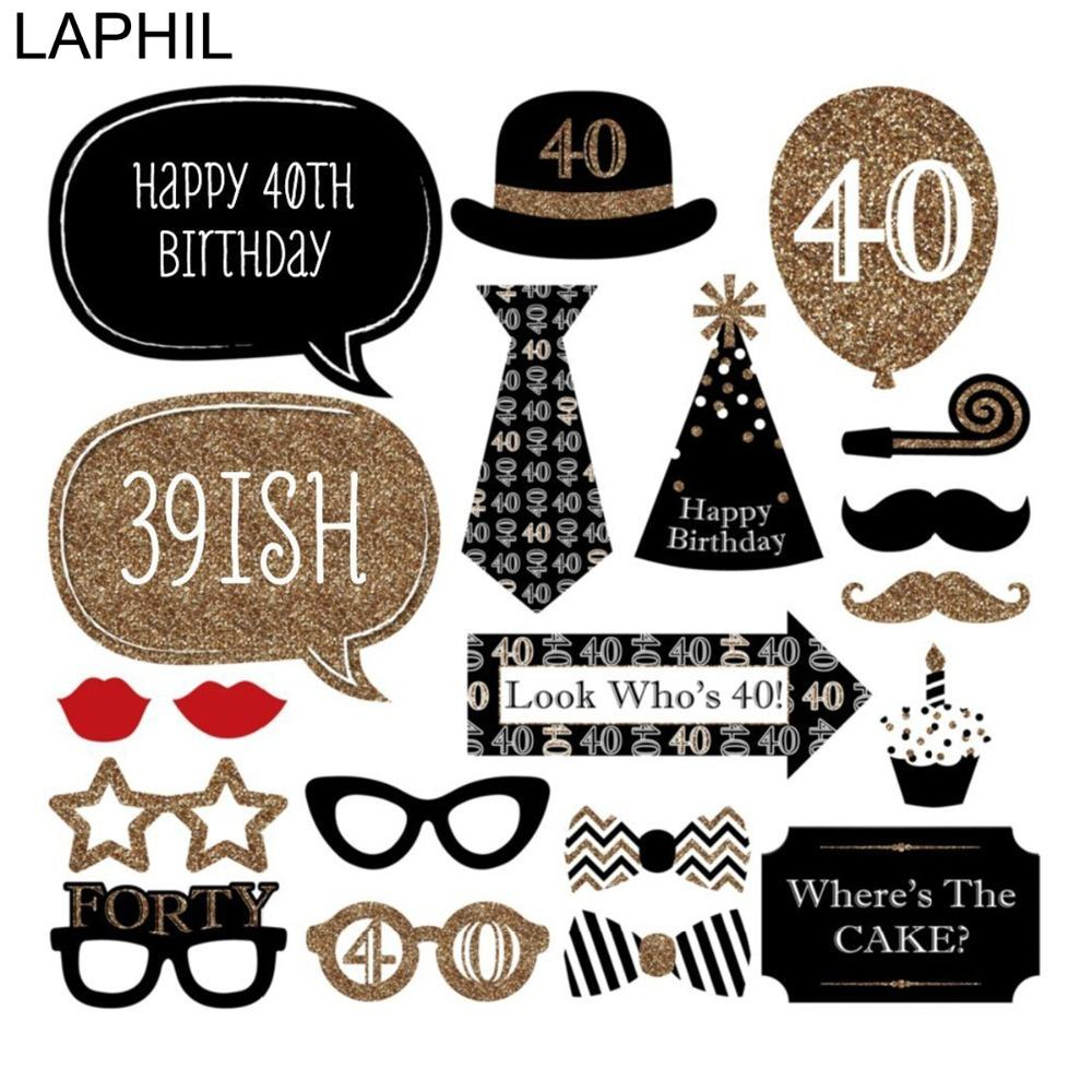 LAPHIL 40th Birthday Photo Booth Props Happy 40 Year Party Decorations Adult Man Women Favors Photobooth