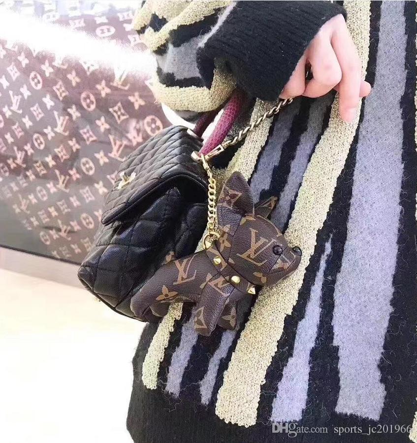Créateur de haute qualité en cuir bulldog français porte-clés marque design chaîne porte-clés hommes et femmes voiture clé chaîne cadeau boîte emballage