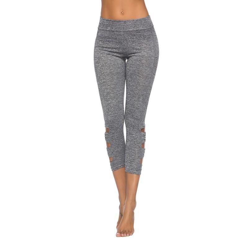 Le sport de haut jambe poussée couleur solide pantalon de fitness sans couture de la taille des femmes de haut pantalon hanches veau arc froissés coutures couleur unie Slim