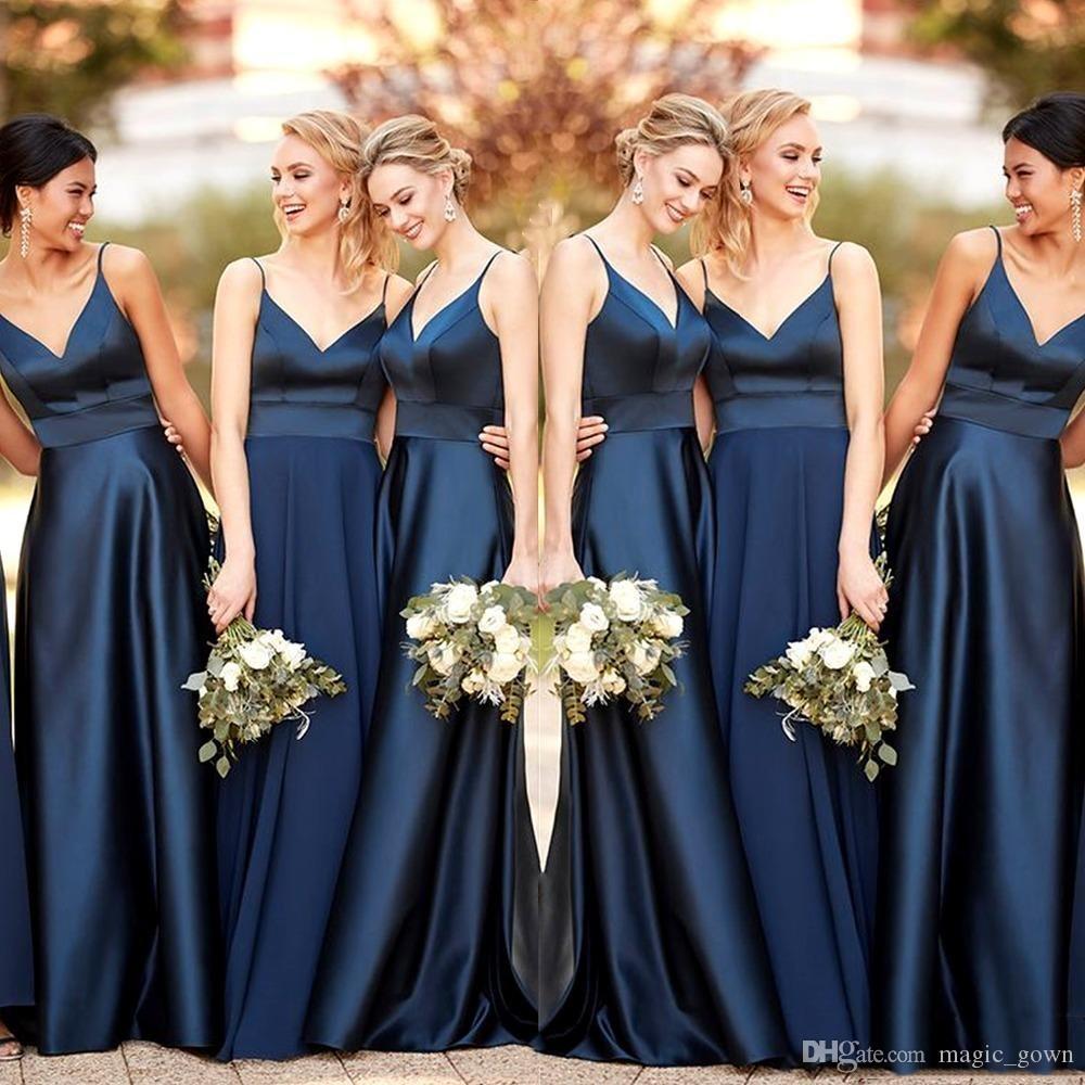 Cheap Navy Blue A-Line damigella d'onore abiti lunghi 2020 pavimento del raso di lunghezza spalline Wedding Party Dress damigella d'onore vestito su ordinazione